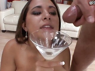 Teen drinks multiple loads of cum